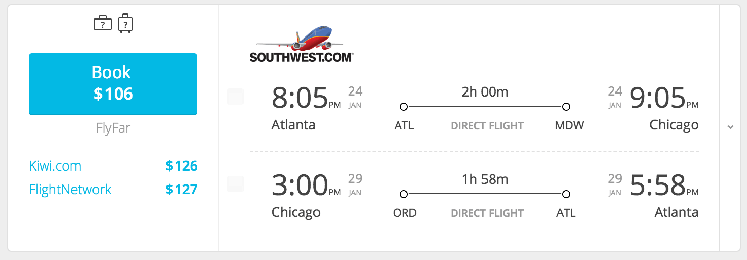 chicago flight $106