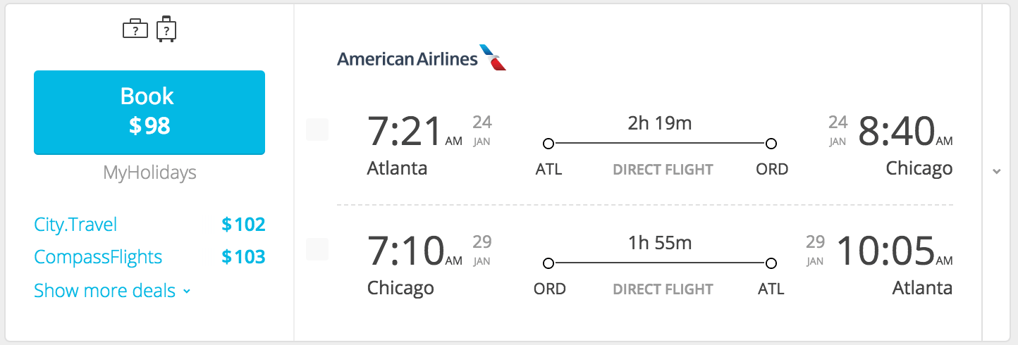 chicago flight $98
